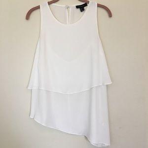 White Sleeveless Top Asymmetrical Size 10